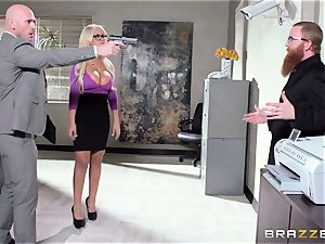 Bank robbing babe Bridgette B nails in front of the boss