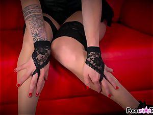 see Maia Davis undress down to display off her pinkish vagina