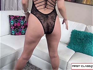 Aaliyah love inhales and pulverize a massive salami in point of view style