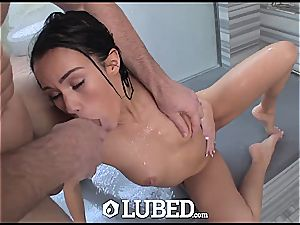 little bombshell Megan Rain tossing and spinning on a gigantic weenie