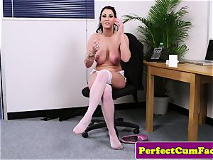 big-chested office british fellating meatpipe until facial cumshot