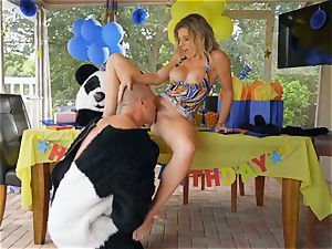 dangled stud in panda costume pulverizes mummy Cory chase