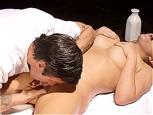 kinky masseur makes Krissy Lynn shake after sensuous love making
