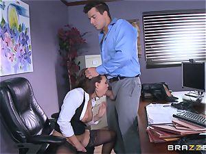 Eva Angelina gets her bosses huge salami via her desk