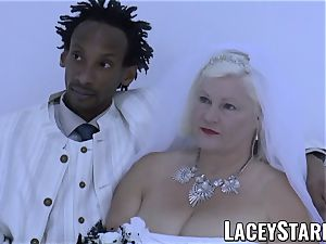 LACEYSTARR - grannie bride fed with jizz after plumbing