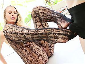 Nicole displays off her torrid assets then gets a excellent pummeling