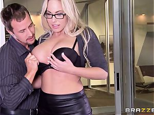 Julia Ann and Olivia Austin plow the manager together