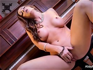 brown-haired babe Abigail Mac fondles her vagina