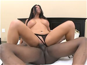 Romi Rain takes yam-sized dark-hued pipe in her wet fuckhole