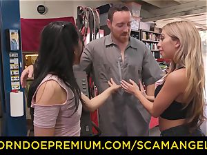 SCAM ANGELS - Blackmail threeway lovemaking with kinky honeys