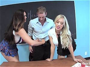 two crazy students have fun with their educator
