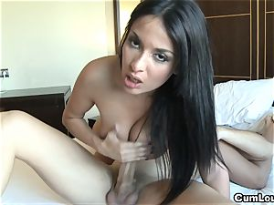 Anissa Kate masturbates a spear with her enormous melons