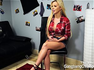 platinum-blonde babe Barbie Sins is An English gang-bang mega-slut