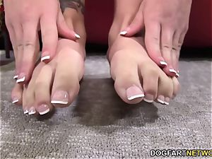 Eva Angelina jerks off big black cock with her beautiful soles