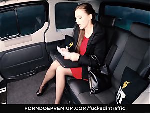 ravaged IN TRAFFIC Tina Kay footjob in the backseat
