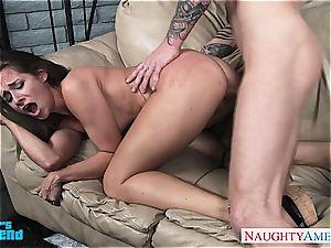 dark-haired babe in blue top Cassidy Klein gets pulverized