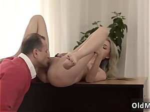 sizzling blond with meaty congenital funbags very first time Stranger in a yam-sized palace knows how to