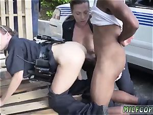 sizzling chick cop gets pulverized and furry milf douche I will catch any perp with a enormous ebony