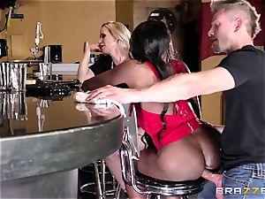 Mature womens Diamond Jackson & Simone Sonay get their immense butt poking on the bar