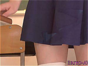 insane asian schoolgirl Yui Tsubaki tongued until she sploogs