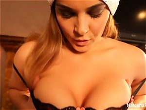 buxomy Natasha's super super-sexy Christmas getting off