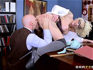 Dean Johnny Sins holds a fuck-a-thon education lesson with a obscene schoolgirl
