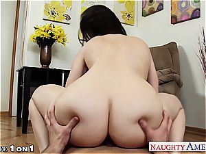 delectable Dana DeArmond in point of view fellating a fat swelling