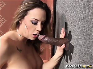Chanel Preston fellates and penetrates dark-hued gloryhole cock
