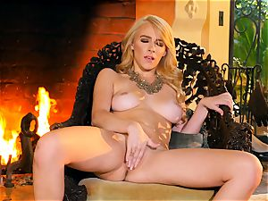 gorgeous Penelope Lynn ejaculations in front of the fire