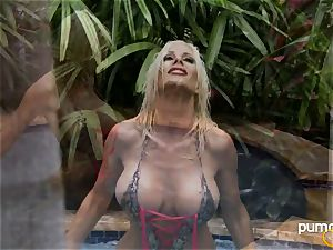 Puma Swede super hot honey smoking while in the pool