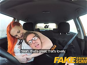 fake Driving college mind-blowing red-haired lusts after giant wood
