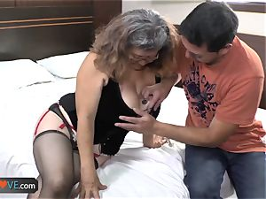 AgedLove chubby mature is banging on couch