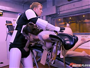 Stella Cox gash bashed by a space agent