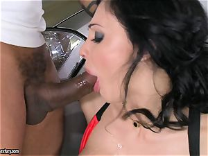 sexy Aletta Ocean plays with a dark-hued fuck-stick in her slippery super-steamy jaws