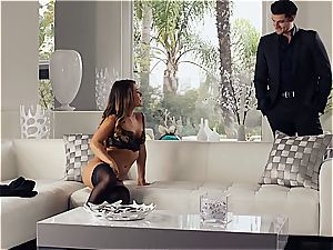 magnificent Eva Lovia is instructing her bf some manners before the soiree