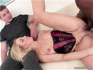light-haired German Swinger wifey smashes big black cock